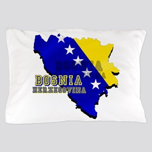 Flag Map of Bosnia Pillow Case