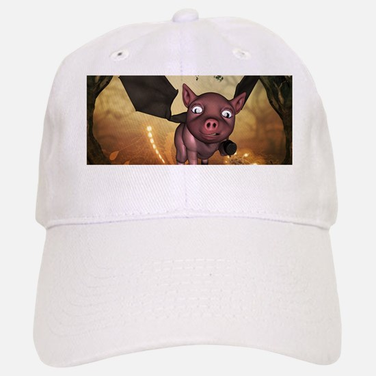 unny little piglet with wings Baseball Baseball Baseball Cap