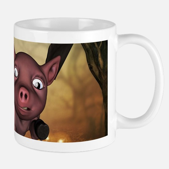 unny little piglet with wings Mugs