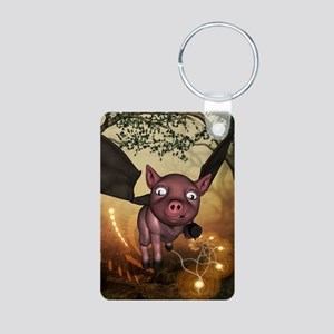 unny little piglet with wings Keychains