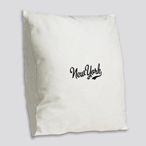 New York Script Black Burlap Throw Pillow