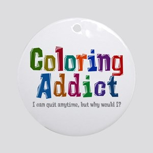 Coloring Addict Round Ornament