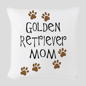 golden retriever mom Woven Throw Pillow