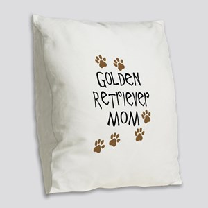 golden retriever mom Burlap Throw Pillow