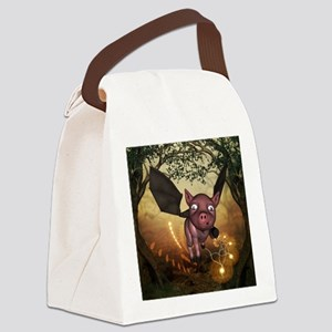 unny little piglet with wings Canvas Lunch Bag