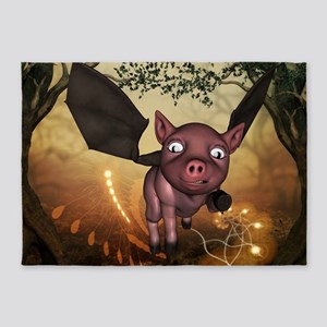 unny little piglet with wings 5'x7'Area Rug