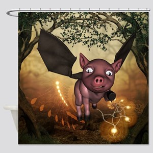 unny little piglet with wings Shower Curtain