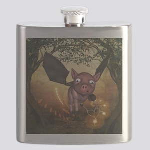 unny little piglet with wings Flask