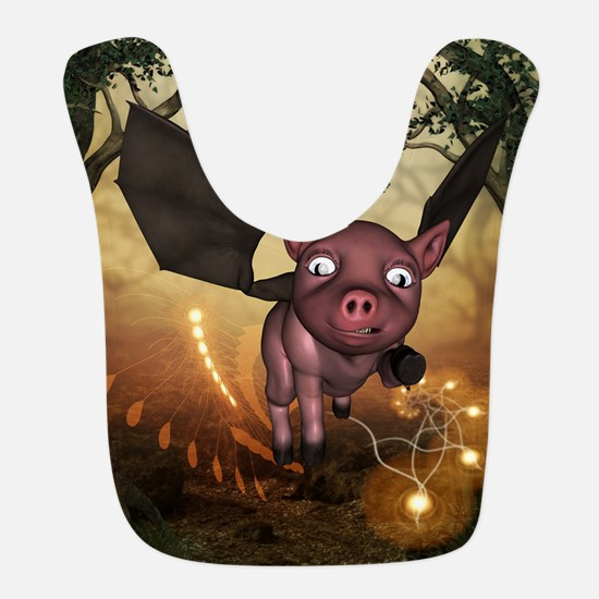 unny little piglet with wings Polyester Baby Bib