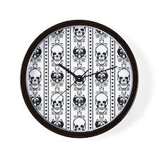 Baroque Skull Stripe Black/White Wall Clock
