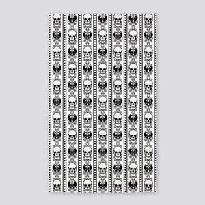Baroque Skull Stripe Black/White Area Rug