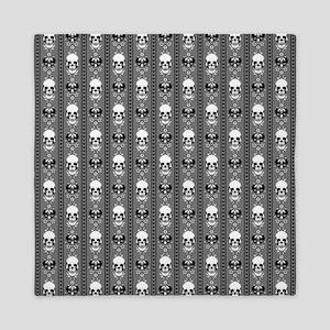 Baroque Skull Stripe Grey Queen Duvet