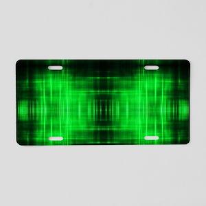 tribal neon green batik Aluminum License Plate