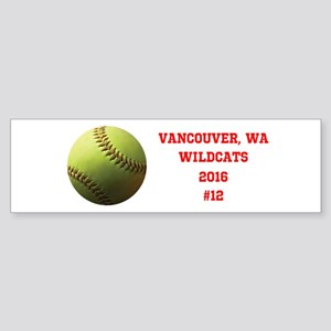Yellow Softball Team Design Bumper Sticker