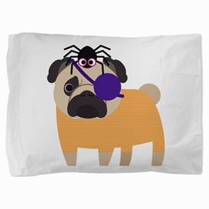 Halloween Pug Pirate with Spider Pillow Sham
