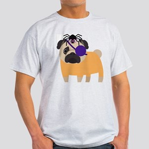 Halloween Pug Pirate with Spider Light T-Shirt