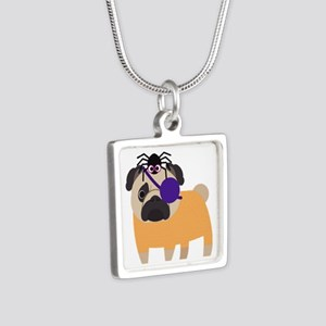 Halloween Pug Pirate with Silver Square Necklace