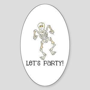 Dancing Skeleton Oval Sticker