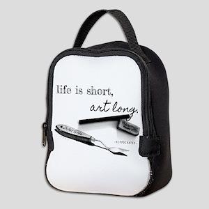 Life is Short, Art Long Pencil Neoprene Lunch Bag