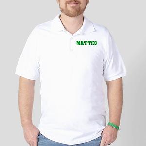 Matteo Name Weathered Green Design Golf Shirt
