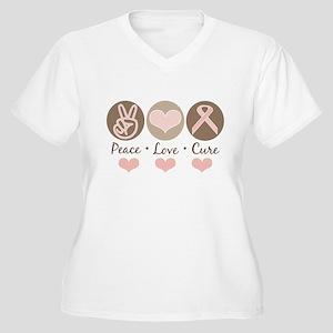 Peace Love Cure Pink Ribbon Women's Plus Size V-Ne
