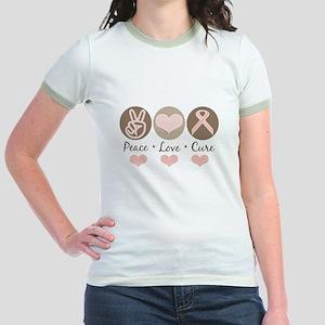 Peace Love Cure Pink Ribbon Jr. Ringer T-Shirt