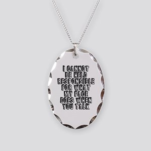 What My Face Does Necklace Oval Charm