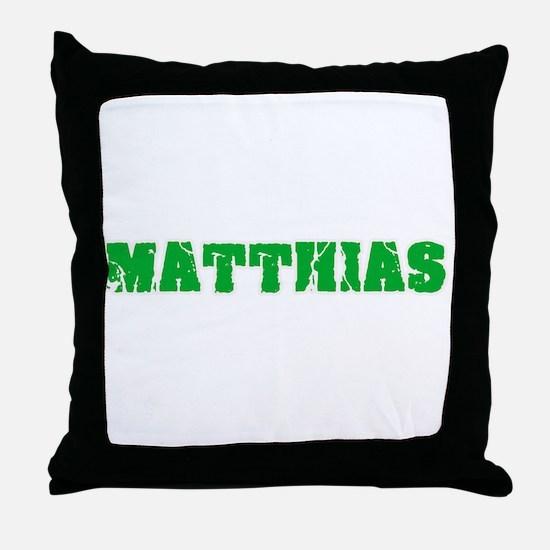 Matthias Name Weathered Green Design Throw Pillow