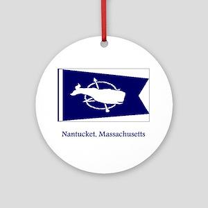Nantucket MA Flag Ornament (Round)