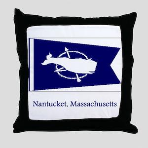 Nantucket MA Flag Throw Pillow