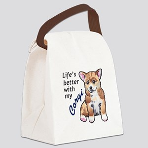 BETTER WITH A CORGI Canvas Lunch Bag