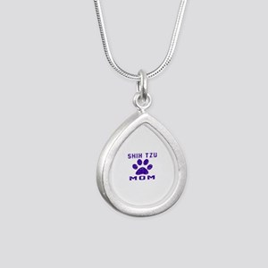 Shih Tzu mom designs Silver Teardrop Necklace