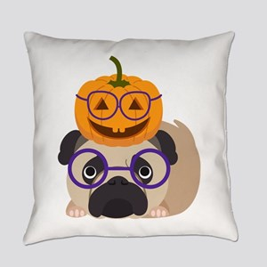 Pumpkin Head Halloween Pug Everyday Pillow