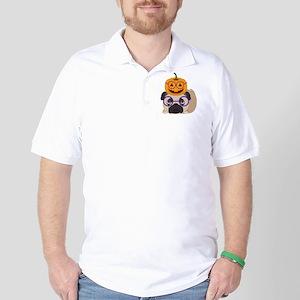Pumpkin Head Halloween Pug Golf Shirt