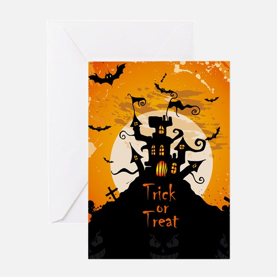 Castle On Halloween Night Greeting Cards
