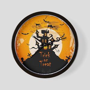 Castle On Halloween Night Wall Clock