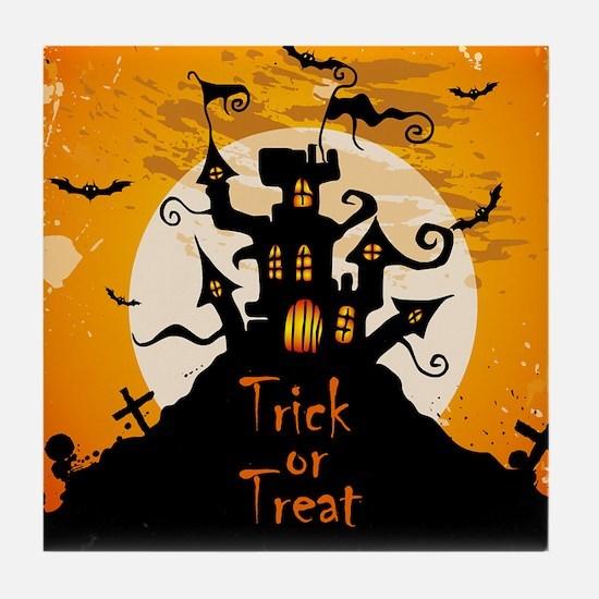 Castle On Halloween Night Tile Coaster