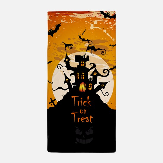 Castle On Halloween Night Beach Towel