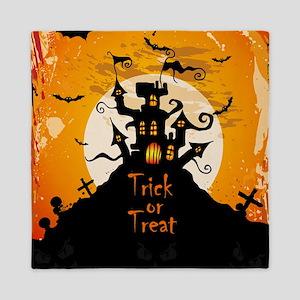Castle On Halloween Night Queen Duvet
