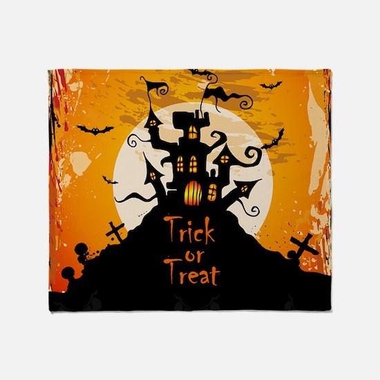 Castle On Halloween Night Throw Blanket