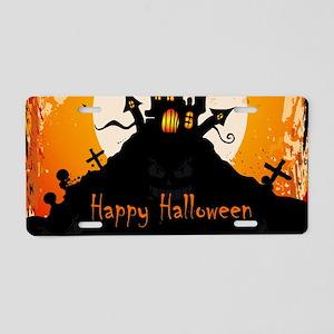 Castle On Halloween Night Aluminum License Plate