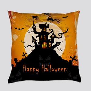 Castle On Halloween Night Everyday Pillow