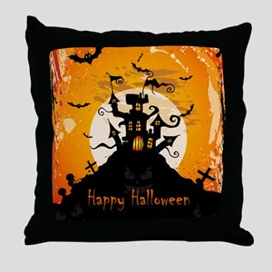 Castle On Halloween Night Throw Pillow