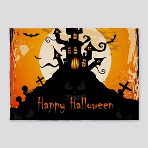 Castle On Halloween Night 5'x7'Area Rug