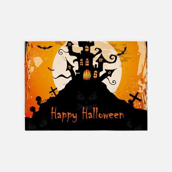 Castle On Halloween Night 5'x7'Area Rug