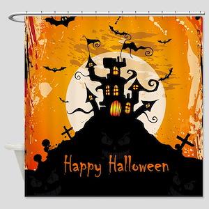 Castle On Halloween Night Shower Curtain