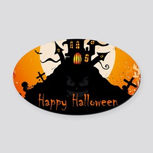 Castle On Halloween Night Oval Car Magnet