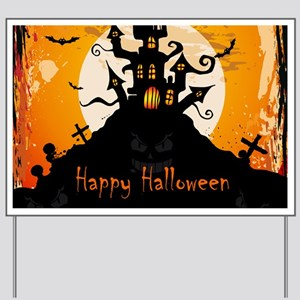 Castle On Halloween Night Yard Sign