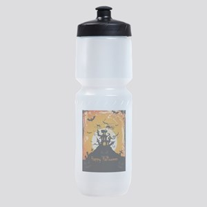Castle On Halloween Night Sports Bottle