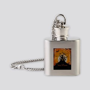 Castle On Halloween Night Flask Necklace